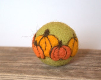 Easter ornament Felted wool ball decoration ornament olive green orange pumpkins autumn fall decor handmade wool gift ornament decoration