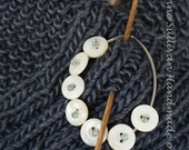 Button Shawl PIn, Vintage Button and Bead Shawl Pin
