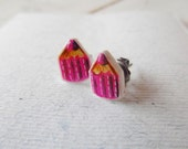 Purple pencil colors earring studs