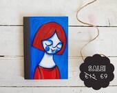 Illustration girl journal, illustrated notebook red & blue
