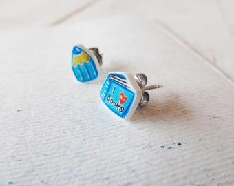 Blue pencil colors earrings, book lover studs