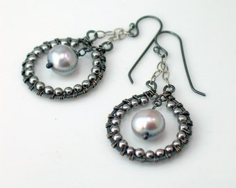 Gray Pearl Hoop Dangle Earrings, Beaded Hoops Dangle in Gray Pearls, Artisan Earrings Original Handmade Design, WillOaks Studio