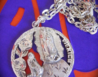 "Souvenir from the Basillica---Vintage GUADALUPE 1953 72% Silver Centavos Pendant on Sterling 24"" chain-OOAK- 32.9g combined"