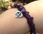 Footprints on My Heart Memorial Bracelet (miscarriage, stillbirth, babyloss, pregnancy loss). Amethyst.