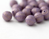 Purple Gold Etched Acrylic Round Beads Carved 11mm (20)