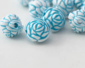 Blue White Acrylic Round Rose Flower Beads Carved 13mm (20)
