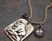 Mountain Goat Necklace, Amethyst, Mystic Quartz