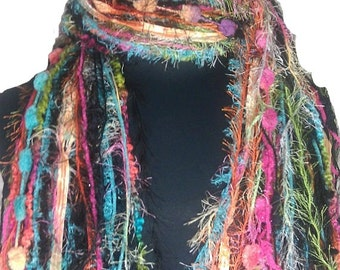 Sherbert - Knotted Scarf All Fringe Scarves Womens Scarf - Shades of Black, Orange, Pink, Lime and Turquoise