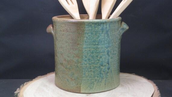 handmade ceramic kitchen utensil jar or canister by