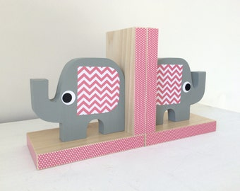 Elephant Bookends, Elephant Nursery, Elephant Kids Decor, Pink and Gray, Pink and Grey Nursery, Children's Bookends, Wood Bookends