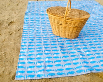 Picnic Blanket- ORGANIC Beach Blanket in Blue Whales-  Picnic Blanket- Nautical, Summer