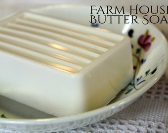 Lavender SHEA BUTTER SOAP- 5 oz. Butter Blend, Shea, cocoa, mango, argan, avocado, Farm house butter soap, vegan soap, large bar bath soap