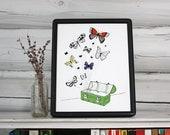 Butterflies illustration - pen and ink art print