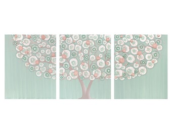Tree Nursery Art for Baby Girl- Textured Canvas Painting Triptych in Teal and Pink - Large 50x20