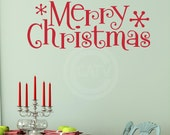 Merry Chiristmas Vinyl lettering wall decal sticker decor