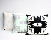 Black and White Tribal Pillow 16x16 Square Tribal Pattern Accent Cushion Organic Hand Printed Black and White Home Decor - Pinnacle