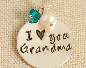 Personalized Grandma Necklace, Nana Necklace, Birthstone Necklace, Grandma Present, Mimi Necklace, Sterling Silver
