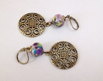Brass Medallion Chandelier Earrings with Lavender and Green Glass (E-473)