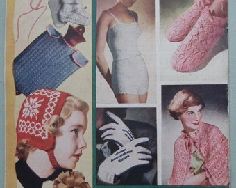 Vintage Knitting Patterns Book 1940s 1950s Bestway Knitting No. 116 Two Ounce Woollies 40s 50s original patterns lingerie bed cape children