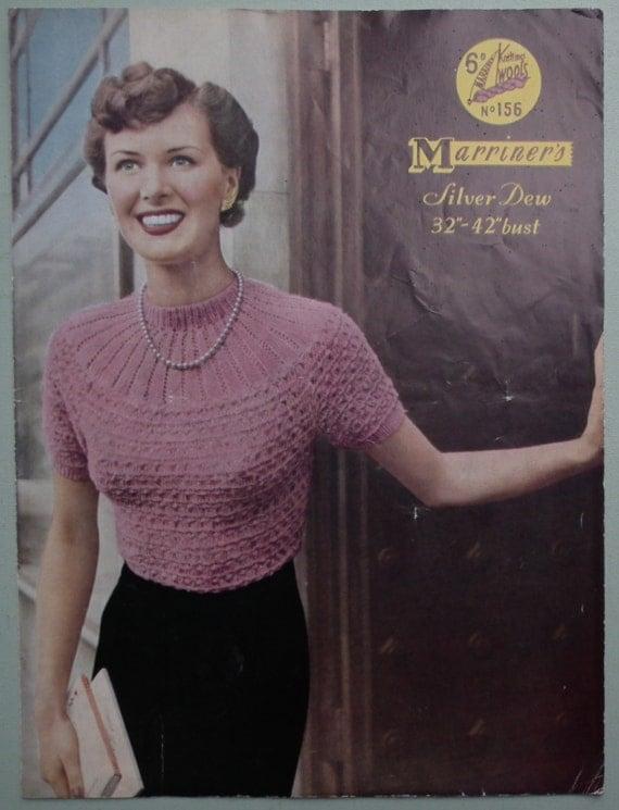 Knitting Pattern Vintage 1940s 1950s Womens Sweater Jumper with yoke - 40s 50s original pattern