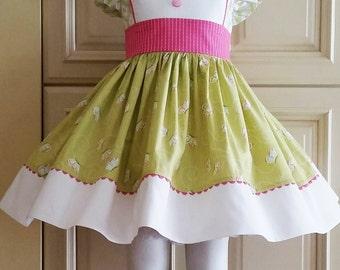 Girls Vintage inspired Butterfly Flutter Sleeve Dress