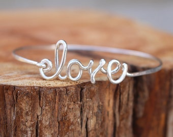 Love Bracelet, Bangle. Sterling Silver, Custom sized, Wire Jewelry
