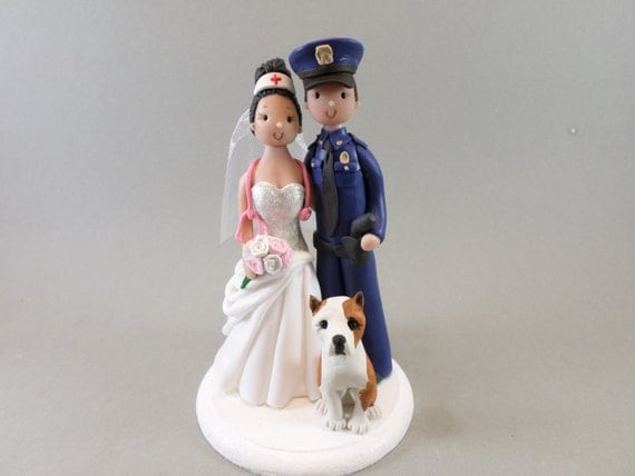 police officer and nurse wedding cake topper officer amp with a customized wedding cake 18671