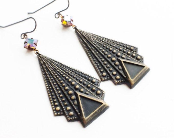 Art Deco Earrings Vintage Iridescent Pink Crystal Earrings Geometric Triangle Earrings Antique Brass Dangles Art Deco Geometric Jewelry