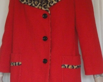 Vintage 60s Coat Ravishing Red & Leopard Print Climate Fashions Bust 40