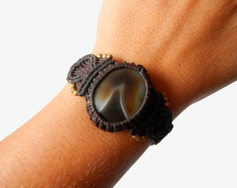 Agate Macrame Bracelet - Your Stone for Protection- ethereal healing crystal band