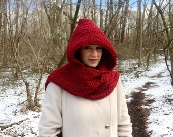 Crochet hooded scarf, red crochet scarf, long scarf with hood, warm winter scarf, crimson scarf with hood, red hooded scarf, crochet scoodie