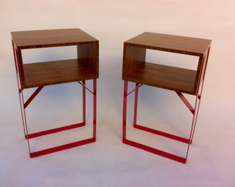 Contemporary Bedside Side Table - Open Mid Century Style Box In Caramelized Bamboo and Red Powder Coated Steel