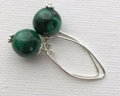 Malachite Earrings. Kelly Green. Solid 925 Sterling Silver. Rare Stones