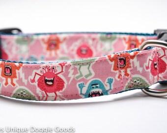 Pink Monster Dog Collar/ Pink Monsters/ Hot Pink/ Girl Dog