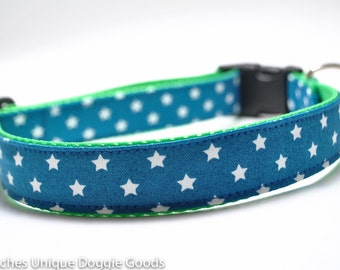 Star Dog Collar/ Lucky Star Blue / Lime Green Collar