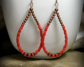 Beaded Hoop Earrings, Red Earrings, Large Hoop Earrings, Teardrop Earrings, Bohemian Earrings, Copper Earrings