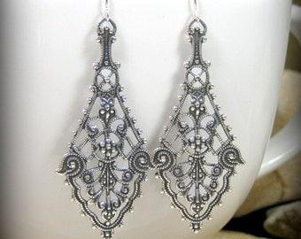 Bohemian Silver Earrings Long Dangle Lace Style Victorian Jewelry