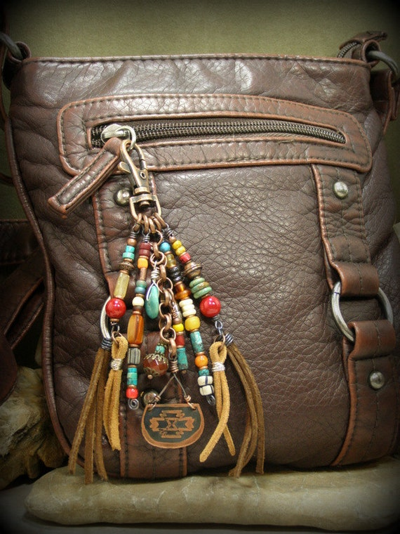 Tribal Purse Clip Key Chain Tassel Beaded Zipper Pull Purse