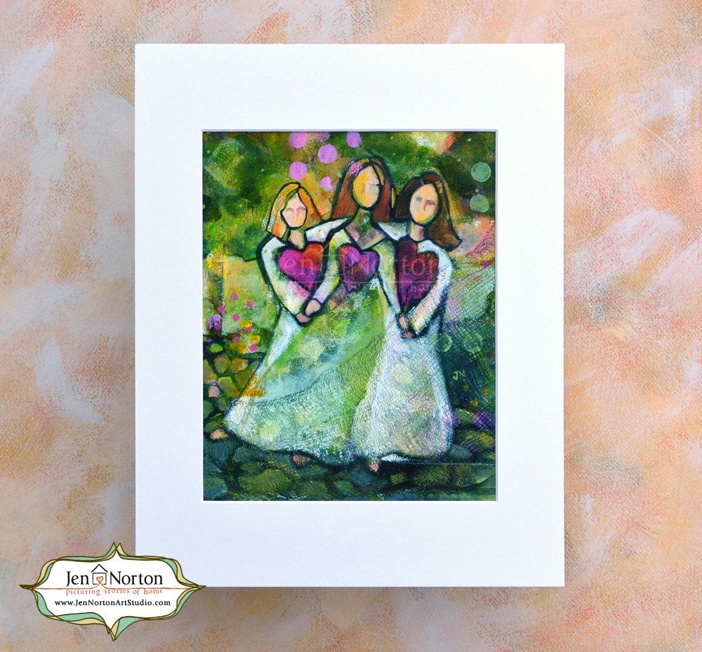 Three Sisters In The Garden Art Print Sisterly Love Hearts