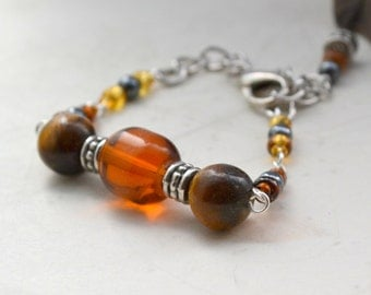 "Marais Tiger's Eye, Hematite Bracelet - Handmade OOAK, Free US Shipping, Adjustable Fits up to 7"", Metaphysical Healing Jewelry, Fall Colors"