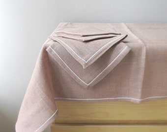 vintage irish linen tablecloth and napkins new old stock sand beige taupe white hemstitch shamrock linens