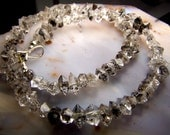 Diamond Quartz Crystal beads - raw natural rough  - drilled - double terminated herkimer diamond smoky crystals individual or full strand