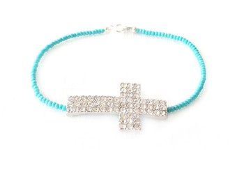 Minimalist Beaded Silver Bracelet - Czech Glass Beads - Turquoise - The Skinny: Cross Crystal