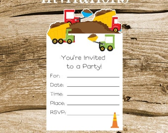 Construction Party - Set of 8 Dump Truck and Bull Dozer Invitations by The Birthday House