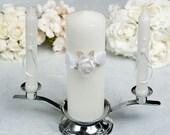 Rose Plush Organza and Satin Wedding Unity Candle Set -35102