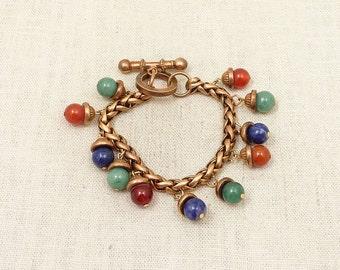 Antique Victorian Gold Filled Multi Hardstone Bobble Charm Bracelet