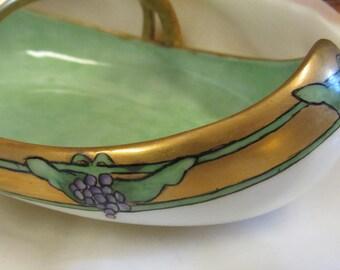 Stunning Grape and Gold Design Handled Bowl Vintage Antique Porcelain Hand Painted Bavarian Rare