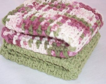 Two Crochet Cotton Kitchen Dishrags, Wine and Avocado Green Dishrags, Large Dishcloths,  Vintage Inspired Dishcloths