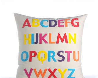"Decorative Pillow, Throw Pillow, ""ABC"" pillow, 22 inch"