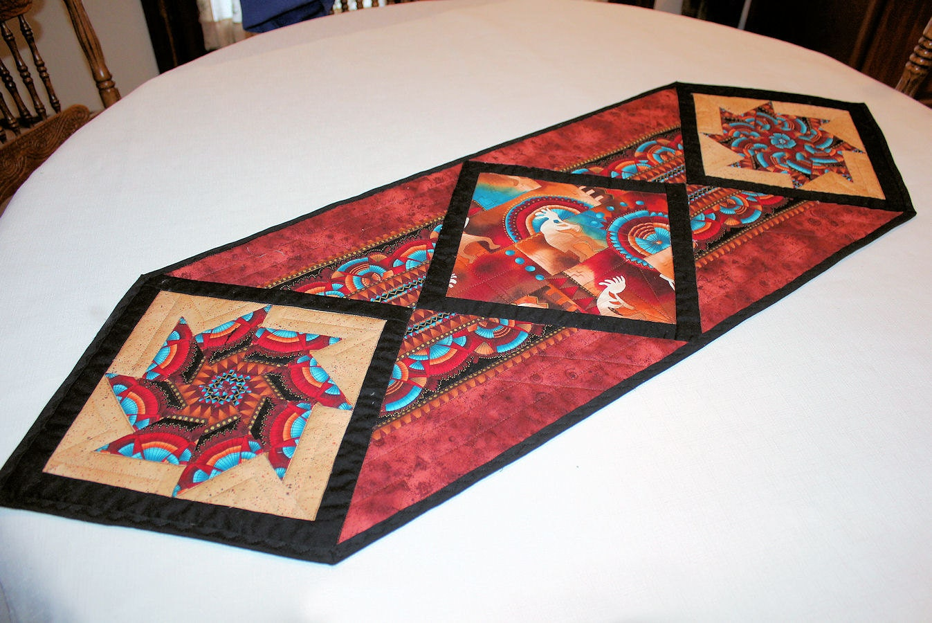 Southwest Quilted Table Runner In Rust Black And Tan